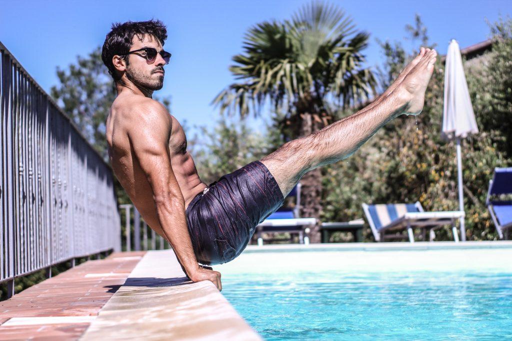 leg lifts by pool